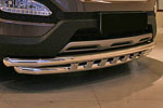 Защита переднего бампера с декоративными элементами d60/60 двойная для Hyundai Santa Fe 2013- (Союз-96, HYSF.45.1618)