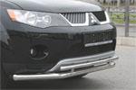 """Защита переднего бампера """"Mitsubishi Outlander XL"""" 2006- d 60/42 двойная (Союз-96, MIOU.48.0479)"""