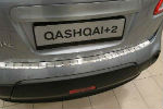 Накладка с загибом на задний бампер для Nissan Qashqai+2 2008+ (Alu-Frost, 25-3470)