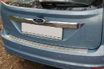 Накладка с загибом на задний бампер для Ford Focus II FL (5D) 2008-2010 (Alu-Frost, 25-3477)