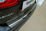 Накладка с загибом на задний бампер для Nissan Qashqai II 2014+ (Alu-Frost, 50-4009)