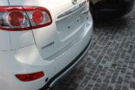 Накладка с загибом на задний бампер для Hyundai Santa Fe 2011+ (Alu-Frost, nakl-bamp-zag-santa-2011)