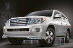 Юбка переднего бампера c DRL для Toyota Land Cruiser 200 2012- (S-Line, DRL.KR.SL.LC200FS)