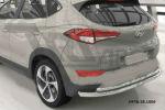 Защита заднего бампера (двойная, D60/42) для Hyundai Tucson 2015+ (Can-Otomotiv, HYTU.55.1509)
