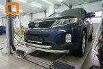 Защита переднего бампера (двойная, D60) для Kia Sorento 2012-2014 (Can-Otomotiv, KISO.33.1381)