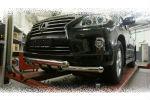 Защита переднего бампера (Shark, D76) для Lexus LX570 2014-2015 (Can-Otomotiv, LE57.33.1578)