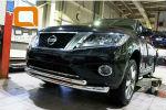 Защита переднего бампера (двойная, D76/60) для Nissan Pathfinder 2014+ (Can-Otomotiv, NIPA.33.4052)