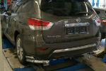 Защита заднего бампера (уголки, D76/42) для Nissan Pathfinder 2014+ (Can-Otomotiv, NIPA.53.4050)
