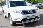 Защита переднего бампера (двойная, D60) для Toyota Highlander 2010-2013 (Can-Otomotiv, TOHI.33.0035)
