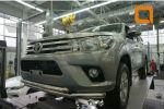 Защита переднего бампера (двойная Shark, D76) для Toyota Hilux 2015+ (Can-Otomotiv, TOHI.33.3460)