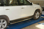 Боковые пороги (с листом) для Toyota Highlander 2010-2013 (Can-Otomotive, TOHI.45.3460)