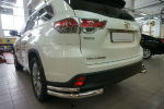 Защита заднего бампера (уголки, D60/42) для Toyota Highlander 2014+ (Can-Otomotiv, TOHI.53.4155)