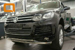Защита переднего бампера (двойная, D60) для Volkswagen Touareg 2010+ (Can-Otomotiv, VWTU.33.4523)