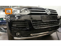 Защита переднего бампера (двойная, D60) для Volkswagen Touareg 2010+ (Can-Otomotiv, VWTU.33.4523)