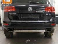 Защита заднего бампера (одинарная овал, D76/42) для Volkswagen Touareg 2010+ (Can-Otomotiv, VWTU.57.4524)