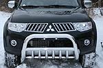 Дуга передняя мини d76 низкая с нижней защитой Mitsubishi Pajero Sport 2008- (Союз-96, MIPS.57.0771)