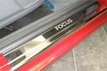 Накладки на внутренние пороги (нерж.) для Ford Focus II 3D 2005-2010 (Nata-Niko, P-FO10)