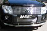 Гриль - накладка на решетку бампера Mitsubishi Pajero 2007- (BGTPro)