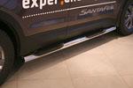 Пороги с проступями d76 для Hyundai Santa Fe 2013- (Союз-96, HYSF.81.1623)