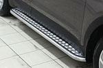 Боковые пороги D42 с листом для Hyundai Santa Fe 2013- (UAtuning, HYU.SF.F04)