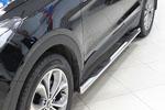 Боковые пороги труба D60 с пластиковыми приступами для Hyundai Santa Fe 2013- (UAtuning, HYU.SF.SS03)