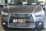 Накладка на решетку радиатора и бампера (гриль) Mitsubishi ASX 10- (BGT-PRO, BGT-KL-85324-T-B)