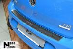 Накладка (с загибом, карбон) на задний бампер для Volkswagen Polo V (5D) 2009+ (NataNiko, Z-VW23+k)