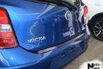 Накладка на задний бампер для Nissan Micra IV (5D) 2010+ (NataNiko, B-NI03)