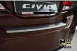 Накладка (с загибом) на задний бампер для Honda Civic IX 4D FL 2013- (NataNiko, Z-HO09)
