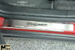 Накладки на внутренние пороги (нерж.) для Chevrolet Tracker 2013+ (Nata-Niko, P-CH18)