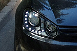 Передняя оптика для Volkswagen Golf VI 2011- (черная) (JUNYAN, JIUDIN-GOLF-HID-BLACK)