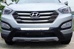 Накладка на передний бампер для Hyundai Santa Fe 2013+ (Kindle, HS-B31)