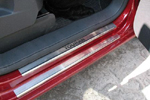 Накладки на внутренние пороги (нерж.) для Volkswagen Touran II 2007- (Nata-Niko, P-VW34)
