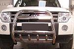Передняя защита бампера (кенгурятник) высокая с защитой картера и пластиной с надписью Mitsubishi Pajero Wagon IV 2007- (Can-Otomotiv, MIPA07FGBWH)